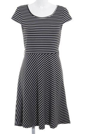 Vero Moda A-Linien Kleid schwarz-weiß Streifenmuster Casual-Look