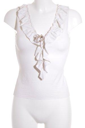 Vero Moda ärmellose Bluse creme-beige Romantik-Look