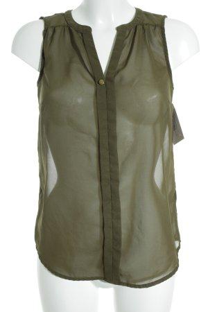 Vero Moda ärmellose Bluse grüngrau-goldfarben Business-Look