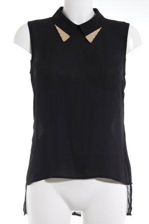 Vero Moda ärmellose Bluse schwarz-goldfarben Glanz-Optik