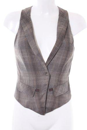 Vero Moda Gilet marrone-grigio-marrone scuro motivo a quadri stile casual