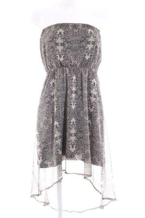Vero Moda Bandeaukleid beige-schwarz abstraktes Muster Casual-Look