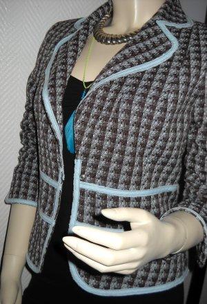 Vero Moda Blazer Jacke tailliert Tweed blau grau braun kariert Paspel 34 36 XS S