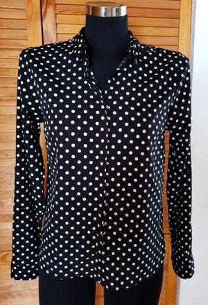 VERO MODA Bluse Hemdbluse schwarz - weiß gepunktet S Neuwertig!