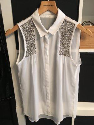 Vero Moda Bluse mit Steinen und Perlen weiß Gr. XS/S