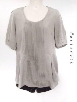 Vero Moda Bluse Peplum Schößchen Shirt Falten Hellgrau
