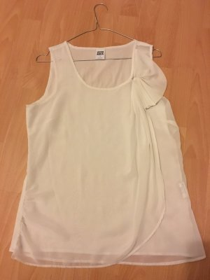 Vero Moda Bluse Top M 38 Schleife ärmellos doppellagig Creme weiß