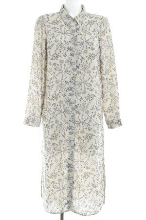 Vero Moda Blusenkleid creme-stahlblau florales Muster Romantik-Look