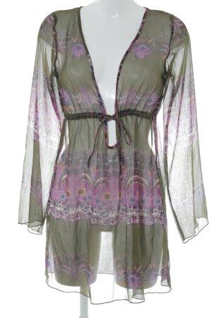 Vero Moda Blusenkleid grüngrau-violett florales Muster Transparenz-Optik
