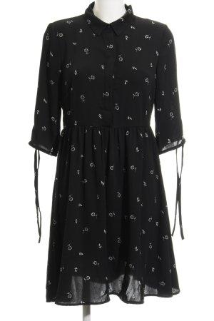 Vero Moda Blusenkleid schwarz-weiß Blumenmuster Casual-Look