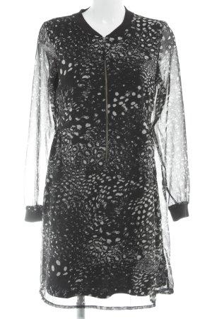 Vero Moda Blusenkleid schwarz-weiß Farbtupfermuster Casual-Look