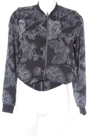 Vero Moda Bomberjack zwart-lichtgrijs bloemen patroon straat-mode uitstraling