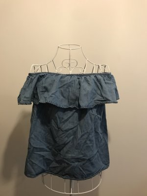 Vero Moda - Carmenbluse aus leichtemJeansstoff