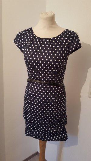 Vero Moda Cocktailkleid Etuikleid Dots mit Gürtel marineblau Damen Größe 34 NEU