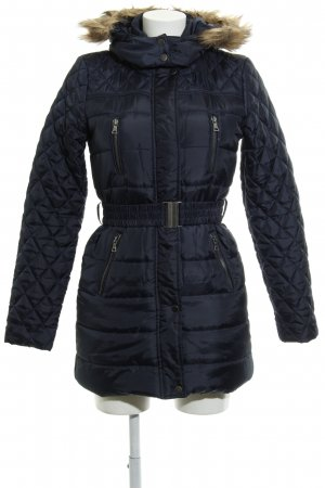 Vero Moda Down Jacket dark blue faux leather trimming