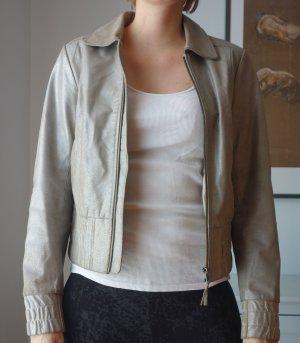 Vero Moda Echtlederjacke Lederjacke Silber glänzend Gr. M