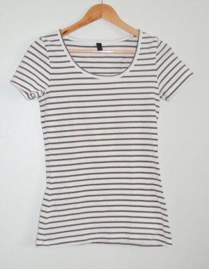 Vero Moda elastisches Shirt in naturweiß-braun geringelt, S wie 36