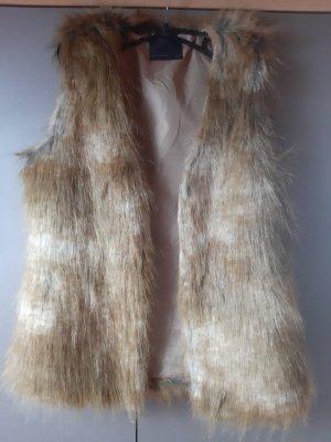 Vero Moda Fake Fur Vest white-sand brown