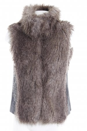 Vero Moda Fellweste hellbraun-schwarz Animal-Look