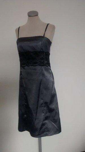 Vero Moda Gr. 40 grau schwarz Satin Kleid Trägerkleid gothic Cocktailkleid