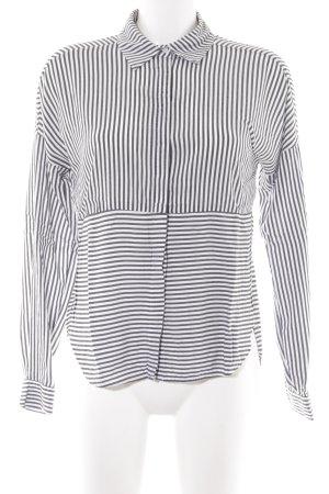 Vero Moda Hemd-Bluse weiß-dunkelgrau Streifenmuster Casual-Look