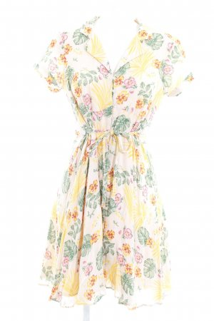 Vero Moda Hemdblousejurk abrikoos-groen bloemenprint casual uitstraling