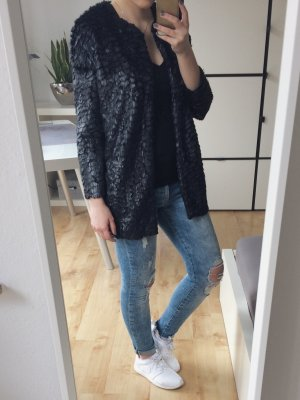 Vero Moda Jacke Blazer Cardigan schwarz Fell glänzend schimmernd Gr. XS