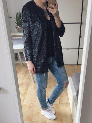 Vero Moda Jacke Blazer Longblazer Cardigan schwarz Fell glänzend schimmernd Gr. XS