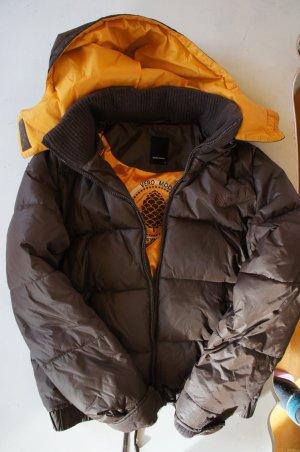 Vero Moda Jacke mit Kapuze - Daune, braun, oranges Futter, Größe M