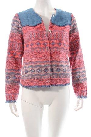 Vero Moda Jacke stahlblau-neonpink Ethnomuster Ethno-Look
