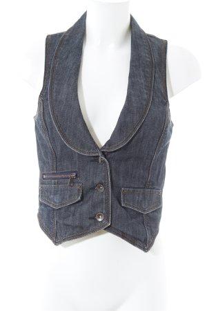 Vero Moda Gilet en jean gris ardoise-blanc style décontracté