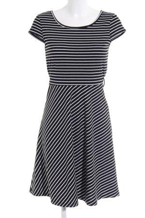 Vero Moda Jerseykleid schwarz-weiß Streifenmuster Biker-Look