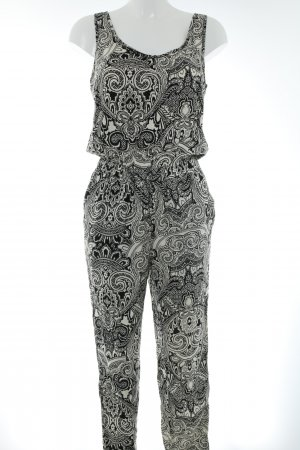 Vero Moda Jumpsuit hellbeige-schwarz Ornamentenmuster Casual-Look