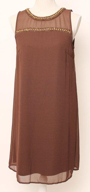 Vero Moda Kleid Abendkleid Cocktailkleid 38 m braun gold metallic