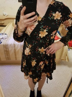 Vero Moda Kleid Minikleid Wickeloptik Langen Ärmeln Gr. L (40) Blumenprint