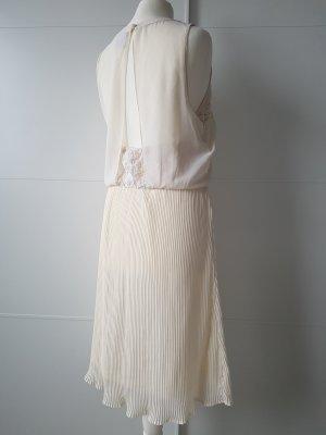 VERO MODA Kleid mit Plissee und Spitze, cremefarben, Gr.S