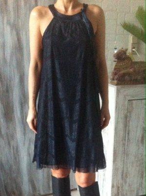 VERO MODA Kleid, nachtblau mit Spitze