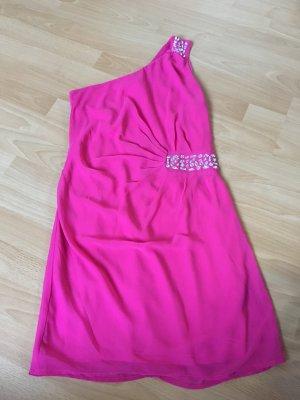 Vero Moda Kleid Pink rosa Strass Steine Glitzer 38 S one Shoulder Träger Top