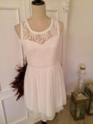 Vero Moda Kleid Spitze Chiffon Weiß Gr. 36 S