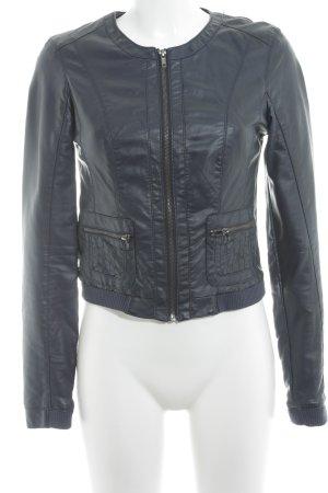 Vero Moda Faux Leather Jacket dark blue street-fashion look