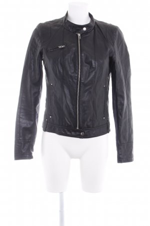 Vero Moda Kunstlederjacke schwarz-silberfarben Casual-Look