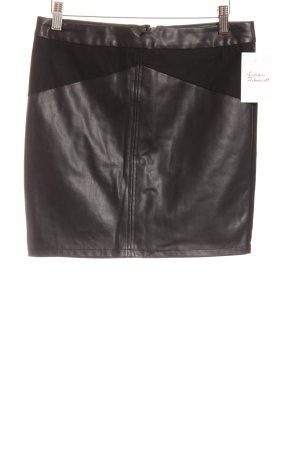 Vero Moda Jupe en cuir synthétique noir Aspect de combinaison de matériaux