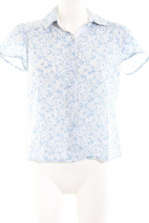 Vero Moda Kurzarm-Bluse blau-weiß Allover-Druck Casual-Look