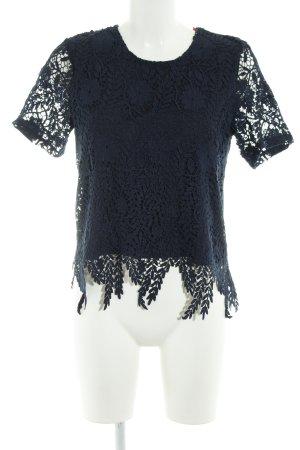 Vero Moda Kurzarm-Bluse dunkelblau florales Muster Elegant