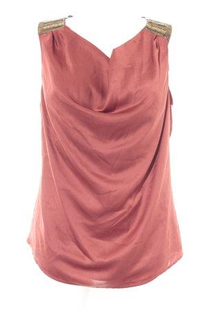 Vero Moda Kurzarm-Bluse rostrot-goldfarben Elegant