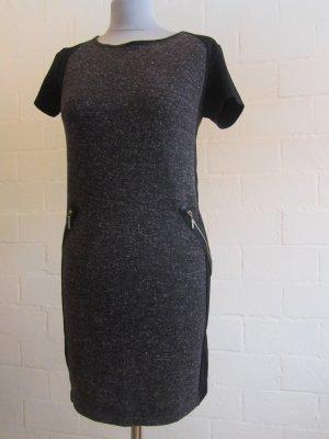 VERO MODA: Kurzarm-Kleid, Grau/schwarz, Gr. M