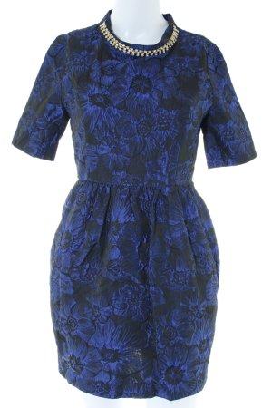 Vero Moda Kurzarmkleid blau-schwarz Blumenmuster Elegant