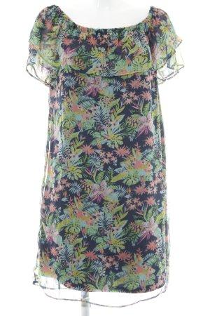 Vero Moda Kurzarmkleid grasgrün-dunkelblau florales Muster Casual-Look
