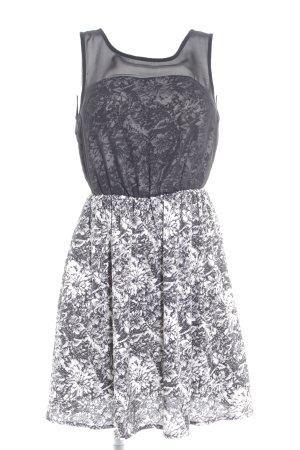 Vero Moda Kurzarmkleid schwarz-weiß abstraktes Muster Elegant