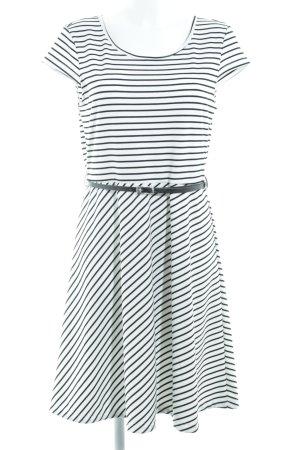 Vero Moda Kurzarmkleid schwarz-weiß Streifenmuster Casual-Look